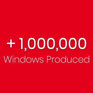 Copy in red background: More than 1 millin windows produced